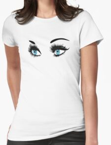 Blue eyes with long eyelashes  Womens Fitted T-Shirt
