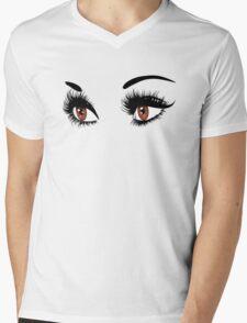Brown eyes with long eyelashes  Mens V-Neck T-Shirt