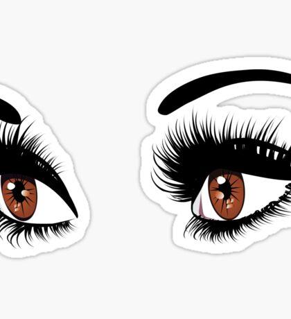 Brown eyes with long eyelashes  Sticker