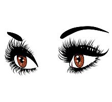 Brown eyes with long eyelashes  Photographic Print