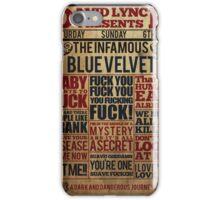 Victorian style movie poster design Blue velvet iPhone Case/Skin