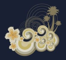Tropical Beach Waves & Yellow Hibiscus Kids Tee