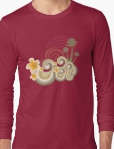 Tropical Beach Waves & Yellow Hibiscus Long Sleeve T-Shirt