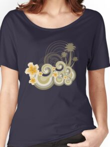 Tropical Beach Waves & Yellow Hibiscus Women's Relaxed Fit T-Shirt