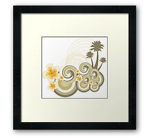 Tropical Beach Waves & Yellow Hibiscus Framed Print