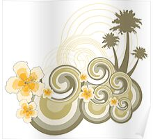 Tropical Beach Waves & Yellow Hibiscus Poster