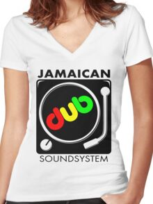 Jamaican Dub Sound System Women's Fitted V-Neck T-Shirt