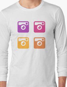 Insta Sunset Cameras Pattern Long Sleeve T-Shirt