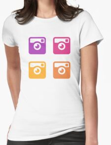 Insta Sunset Cameras Pattern Womens Fitted T-Shirt