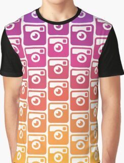 Insta Sunset Cameras Pattern Graphic T-Shirt