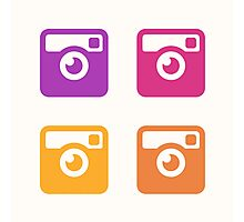 Insta Sunset Cameras Pattern Photographic Print