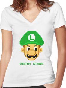 Luigi Death Stare Women's Fitted V-Neck T-Shirt