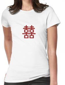 Chinese Wedding Simple Double Happiness Symbol Womens Fitted T-Shirt