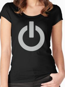 Steel Power Button Women's Fitted Scoop T-Shirt