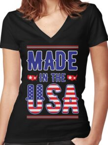 Made in the USA America independence day 4TH July 1776 Women's Fitted V-Neck T-Shirt