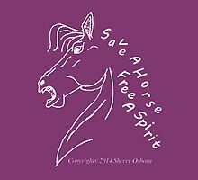 save a horse, free a spirit pillow or tote~ tote or Pillow, Dark Purple by ChereeCheree