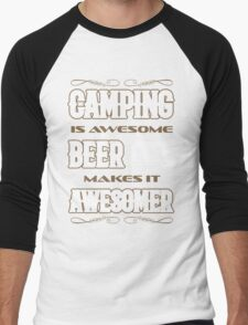 Camping is awesome beer is awesomer camping forecast shirt Men's Baseball ¾ T-Shirt