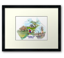 Stanthorpe Qld - Greetings, handpainted on a map Framed Print
