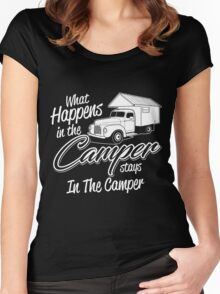 What happens in the camper stay in the camper T-shirt Women's Fitted Scoop T-Shirt