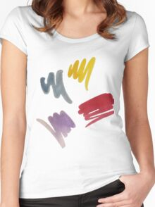 brush doodle large pattern Women's Fitted Scoop T-Shirt