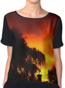 Weeping Tree Silhouette and Sunset 2 Chiffon Top