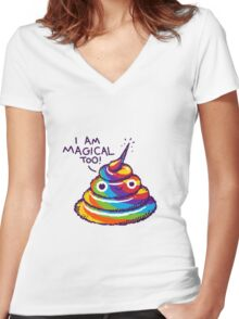 Poopcorn (I Am Magical Too!) Women's Fitted V-Neck T-Shirt