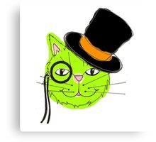 Green Top Hat Cat Canvas Print