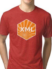 xml programming language hexagonal hexagon sticker Tri-blend T-Shirt