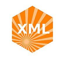 xml programming language hexagonal hexagon sticker Photographic Print