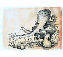 Octopus on mushroom Photographic Print