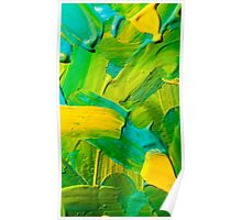 Green, yellow & aqua paint texture Poster