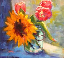 Sunflower and Tulips by Kim  Stenberg