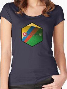 angularjs programming language hexagonal hexagon sticker Women's Fitted Scoop T-Shirt