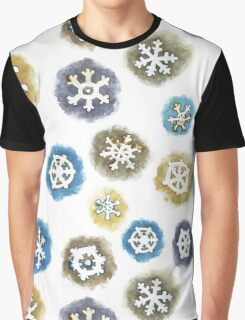 Watercolor Snowflakes Pattern Graphic T-Shirt