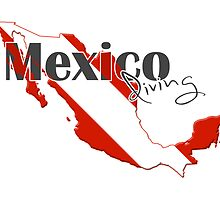 Mexico Diving Diver Flag Map by surgedesigns