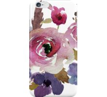 Burgundy Blue Watercolor Flower Bouquet iPhone Case/Skin