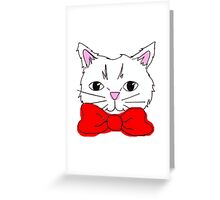 Cute Cat in a Red Bow Tie  Greeting Card