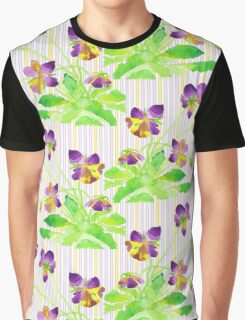 Watercolor Pansies Purple Yellow Lavender Stripes Pattern Graphic T-Shirt