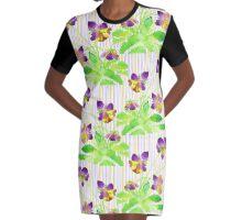 Watercolor Pansies Purple Yellow Lavender Stripes Pattern Graphic T-Shirt Dress
