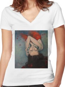 Swinging in Red Women's Fitted V-Neck T-Shirt