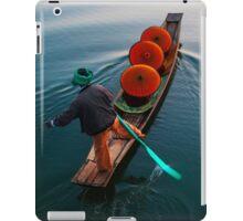 monks under parasols in canoe on Inle lake, Myanmar, Shan state iPad Case/Skin