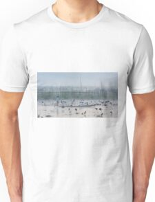 Myanmar, Shan state, Inle lake, fishermen fishing by traditional fishing techniques at dusk  Unisex T-Shirt