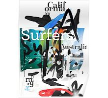 Surfers scribble Poster