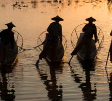 Myanmar, Shan state, Inle lake, fishermen fishing by traditional fishing techniques at dusk  Sticker