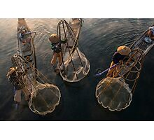 Myanmar, Shan state, Inle lake, fishermen fishing by traditional fishing techniques at dusk  Photographic Print