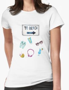To Beach Summer  Womens Fitted T-Shirt