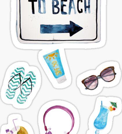 To Beach Summer  Sticker