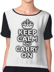 KEEP CALM, Keep Calm & Carry On, Be British! Blighty, UK, United Kingdom, white on black Chiffon Top