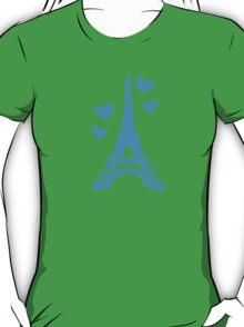Eiffel tower in blue (Love in Paris) T-Shirt