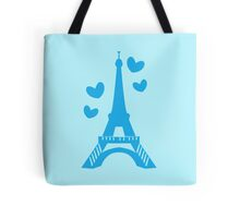 Eiffel tower in blue (Love in Paris) Tote Bag
